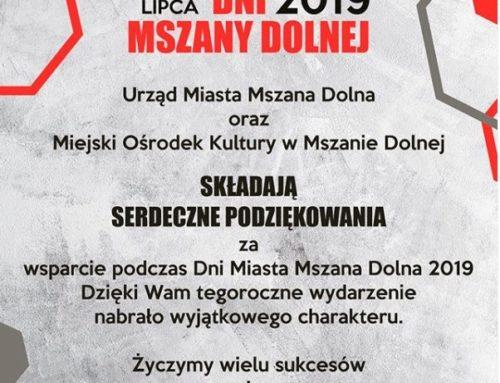 Sponsorzy Dni Mszany Dolnej 2019